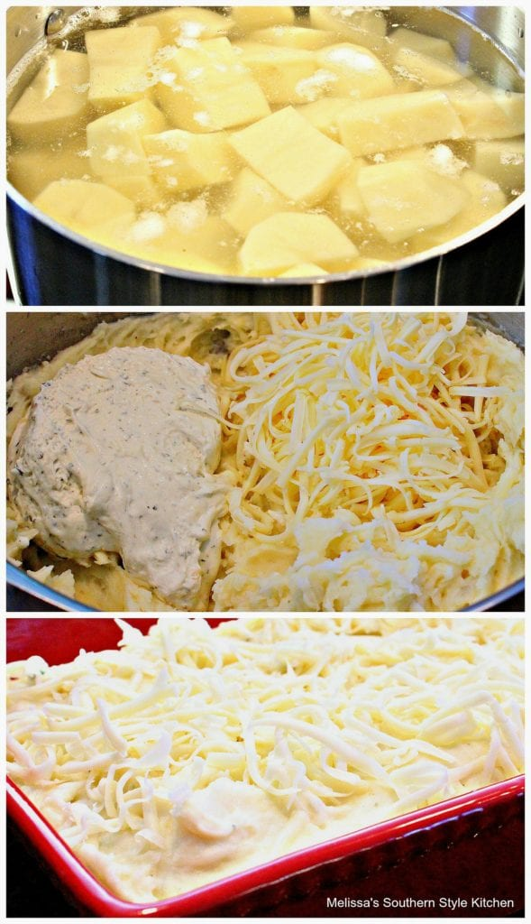 step-by-step images and ingredients to prepare mashed potatoes