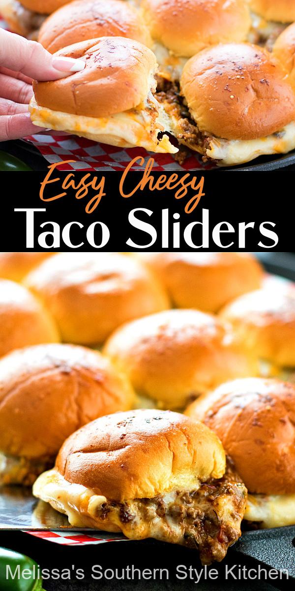 Easy Cheesy Taco Sliders #tacos #tacosliders #beef #groundbeefrecipes #partyfood #snacks #beef #appetizers #southernfood #southernrecipes #melissassouthernstylekitchen