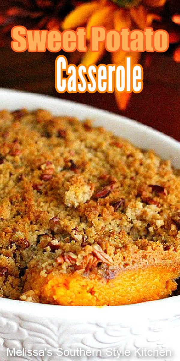 The dreamy filling pairs perfectly with the crunchy pecan streusel on top of this Sweet Potato Casserole #sweetpotatocasserole #sweetpotatoes #casseroles #thanksgivingsides #holidayrecipes #sweetpotatorecipes #potatocasserole #southernfood #southernrecipes