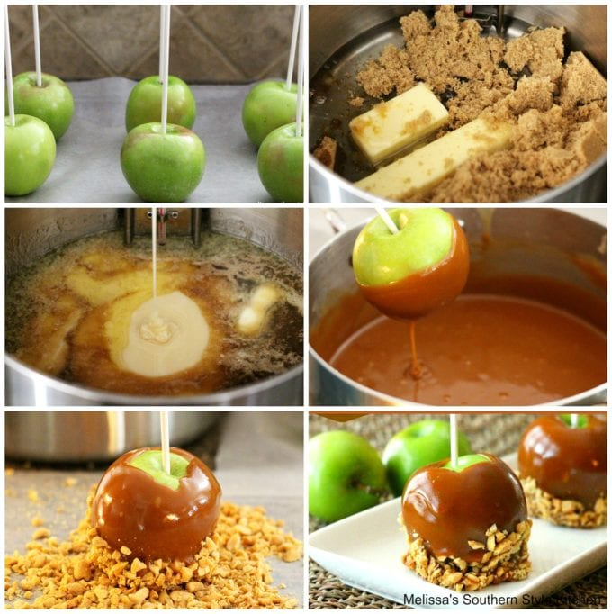 apples dipped in caramel in a pan