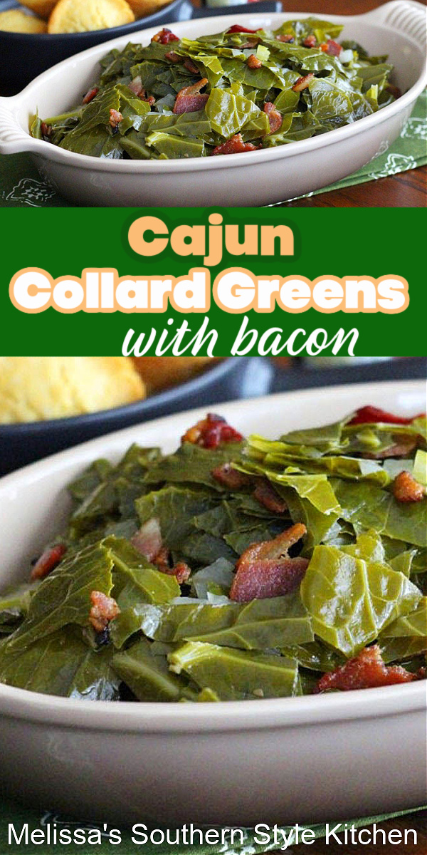 Enjoy these Cajun Collard Greens with Bacon for a kickin' side dish for dinner #collardgreens #Cajungreens #greens #southernfood #sidedishrecipes #newyearsday #comfortfood #bacon #southernrecipes