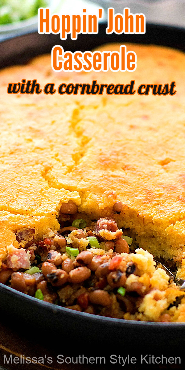 This Hoppin' John Casserolewith Cornbread Crust skips rice and opts for a cornbread topping instead! #hoppinjohn #blackeyedpeas #cornbread #dinner #dinnerideas #southernrecipes #newyearsrecipes #newyearsday #southernfood #casseroles