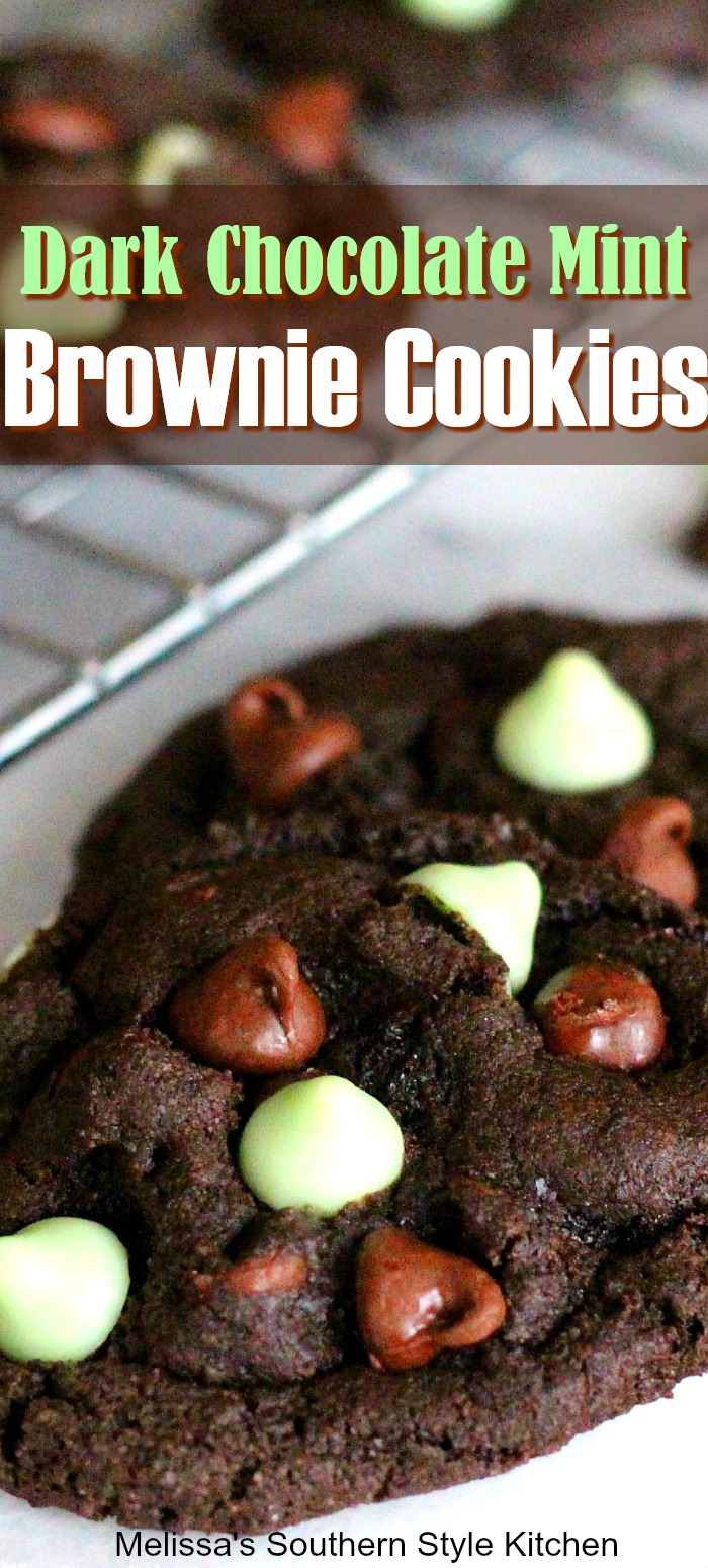 These rich and fudgy Dark Chocolate Mint Brownie Cookies are the best of both worlds #brownies #browniecookies #mint #chocolatemint #cookies #cookierecipes #chocolate #chocolatecookies #chocolatechipcookies #desserts #dessertfoodrecipes #christmascookies #holidaybaking #southernfood #southernrecipes