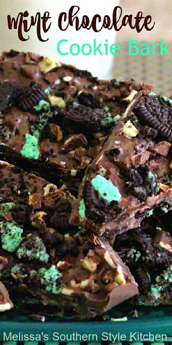 This three ingredient Mint Chocolate Cookie Bark is so simple the kiddos can help #chocolatemint #mintchocolatecookiebark #cookiebarkrecipe #chocolate #candy #christmasrecipes #nobake #cookies #Oreos #southernfood #southernrecipes #holidays