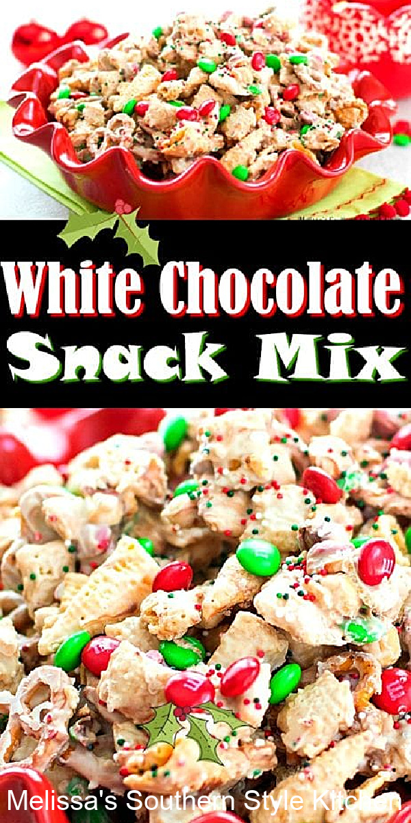 A balanced diet is some of this White Chocolate Holiday Snack Mix in each hand #whitechocolatesnackmix #whitechocolate #snackmix #christmassnacks #holidayreccipes #sweets #desserts #dessertfoodrecipes #chocolate #Christmascandy #holidayrecipes