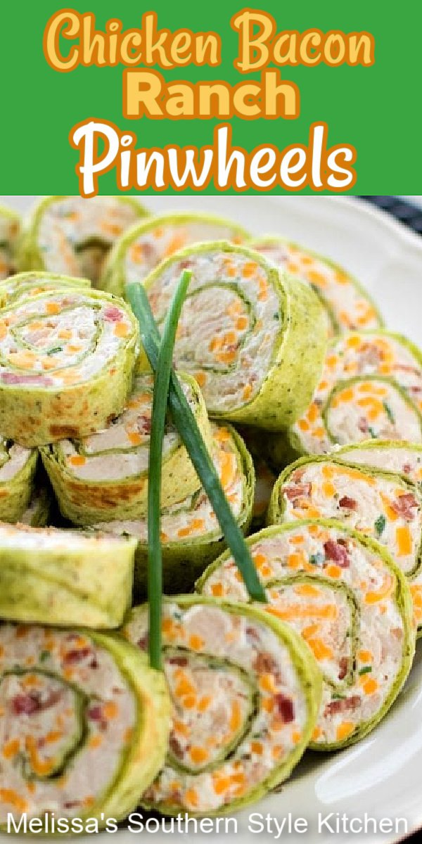 Chicken Bacon Ranch Pinwheels can be enjoyed for your game day snacks, as an appetizer or a hand held holiday starter #chickenbaconranchpinwheels #pinwheels #chickenrecipes #appetizers #chickenbaconranch #bacon #ranchdressing #gamedaysnacks #superbowlrecipes #easyrecipes #southernfood #southernrecipes