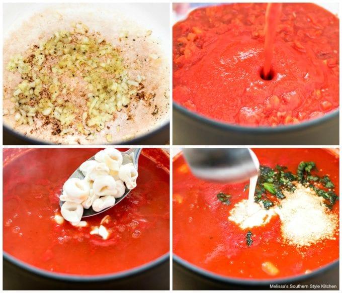 how to make Creamy Tomato Cheese Tortellini Soup