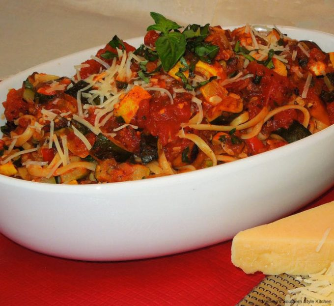 Linguine with a Roasted Vegetable Ragu recipe