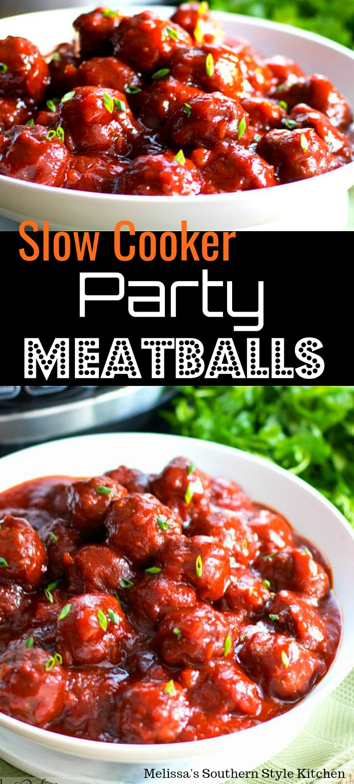 Make these Slow Cooker Party Meatballs and let your crockpot do the work #meatballs #partyfood #appetizers #partymeatballs #easygroundbeefrecipes #sweetandsour #sweetandspicy #beef #slowcookerrecipes #crockpotmeatballs #crockpotrecipes