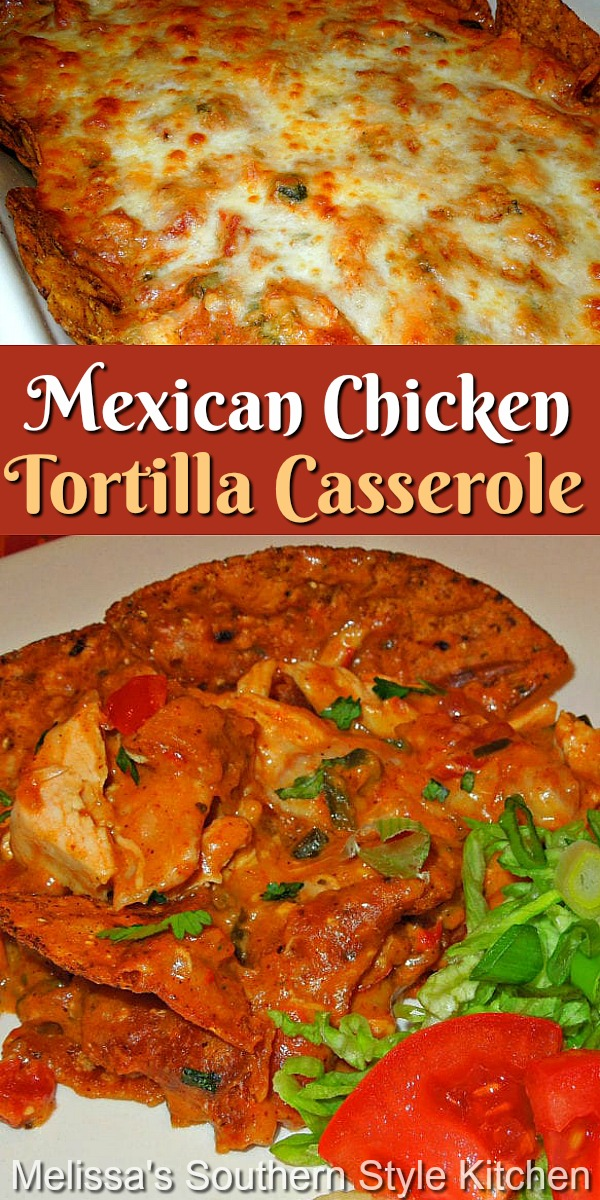 This Mexican Chicken Tortilla Casserole will turn dinner into a homestyle fiesta any night of the week #chickentortillas #chickentortillacasserole #mexicanfood #food #dinnerideas #dinner #easychickenrecipes #casserolerecipes #southernrecipes #southernfood #tortillas