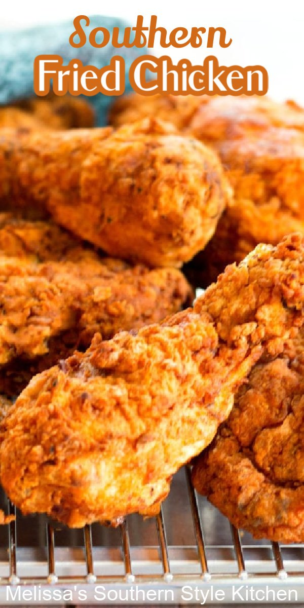 Southern Fried Chicken is finger licking good! #friedchicken #southernfriedchicken #chicken #chickenrecipes #southernrecipes #southernfood #dinnerideas #bestfriedchickenrecipes #easychickenbreastrecipes #dinner #dinnerideas #buttermilkfriedchicken #southernstylefriedchicken