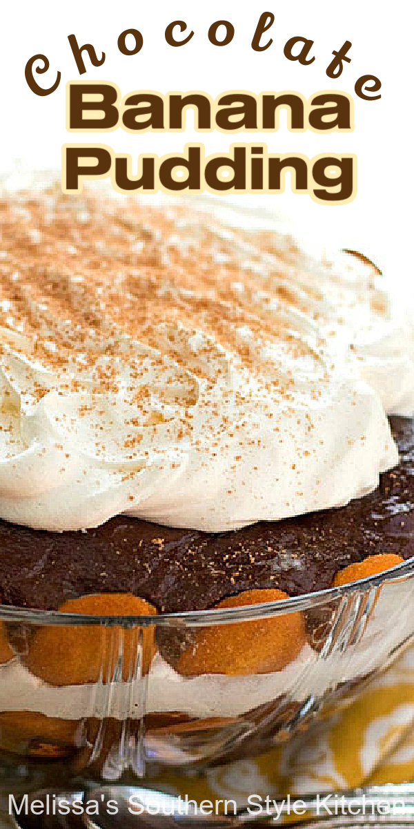 This recipe for Chocolate Banana Pudding turns this Southern classic into a chocolate lovers dream #bananapudding #chocolate #chocolatebananapudding #bananas #chocolatedessertrecipes #southernbananapudding #desserts #southernrecipes