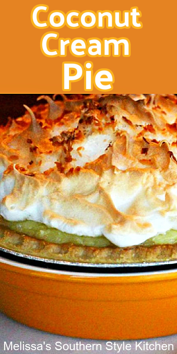 This scratch made Coconut Cream Pie is topped with a fluffy golden mile high meringue for the crowning touch #coconutcream #coconutcreampie #pierecipes #coconutpierecipes #southerndesserts #dessertfoodrecipes