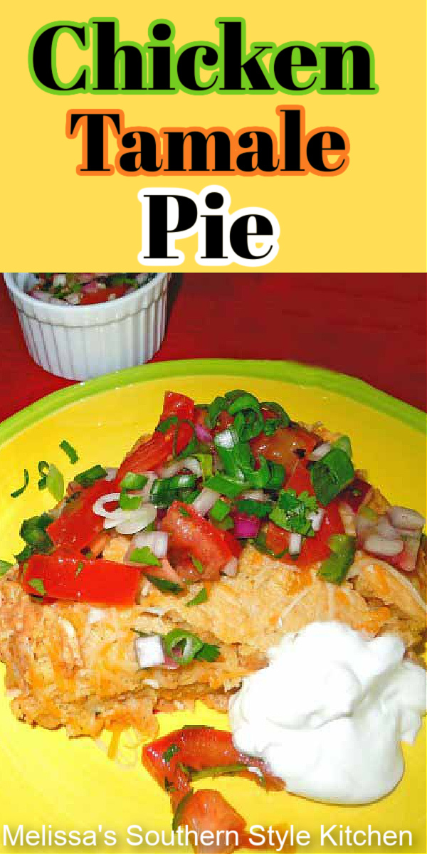 This festive Chicken Tamale Pie is a South-of-the-border inspired dish made with easy to find ingredients #chickentamales #chickenpie #chickentamalepie #easychickenrecipes #mexicanchicken #chickencasseroles #cornbread #tamales