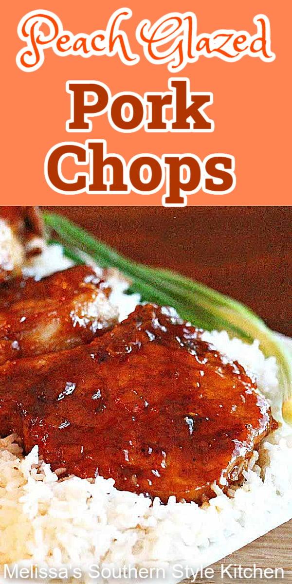 These sweet and sticky peach glazed pork chops will have the family yelling for more #porkchops #peachglaze #peachglazedpork #porkrecipes #pork #braisedporkchops #dinner #dinnerideas #southernfood #southernrecipes #peaches