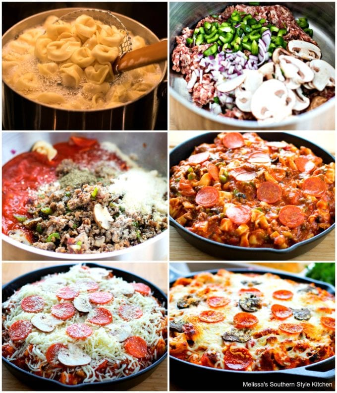 Step-bystep images of how to prepare Supreme Pizza Tortellini Bake