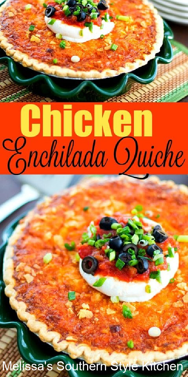 This easy Chicken Enchilada Quiche is a stellar option any time of day #quicherecipes #easychickenrecipes #chickenenchiladas #chickenquiche #quiche #chickenrecipes #brunch #breakfast #southernrecipes