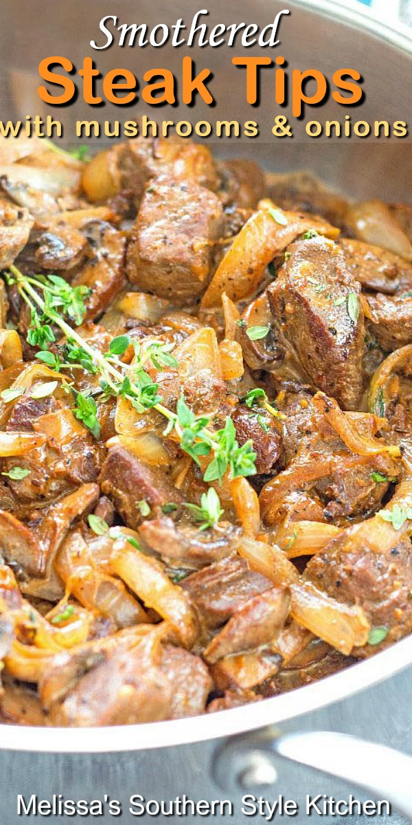Your family will swoon for these tender Smothered Steak Tips with mushrooms and onions #steak #steakrecipes #beststeakrecipes #beef #dinner #dinnerideas #easyrecipes #southnernrecipe #dinnerideas