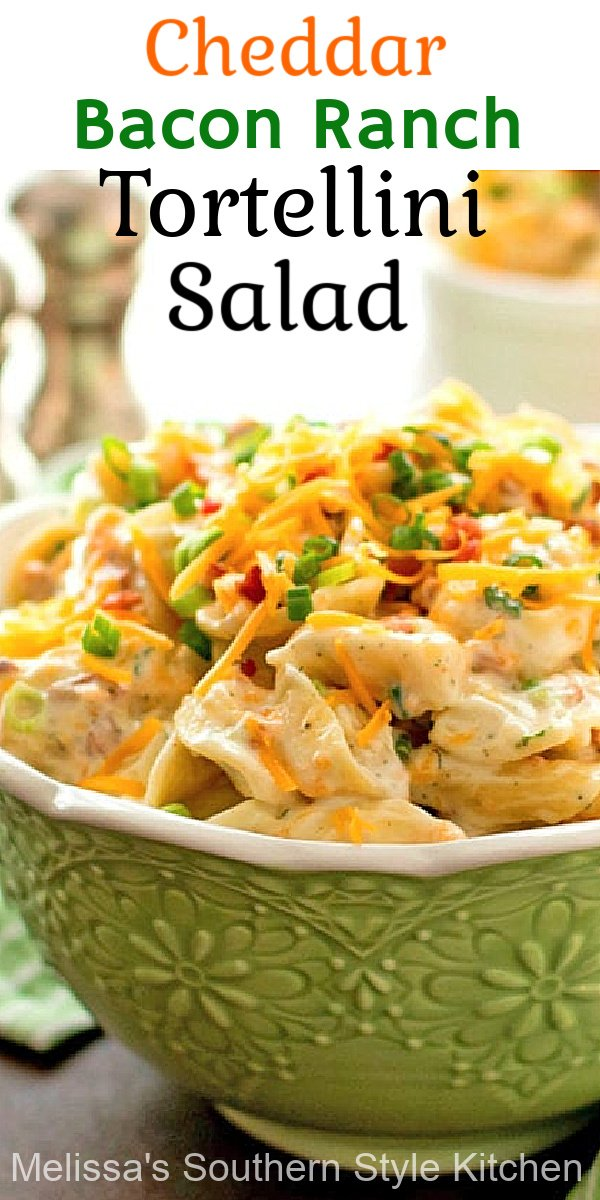 This Cheddar Bacon Ranch Tortellini Salad is a scrumptious side dish option! Add chicken and it's a complete meal #chickenbaconranch #tortellinisalad #cheesetortellini #chickenrecipes #easydinnerideas #southernfood #pasta #southernrecipes