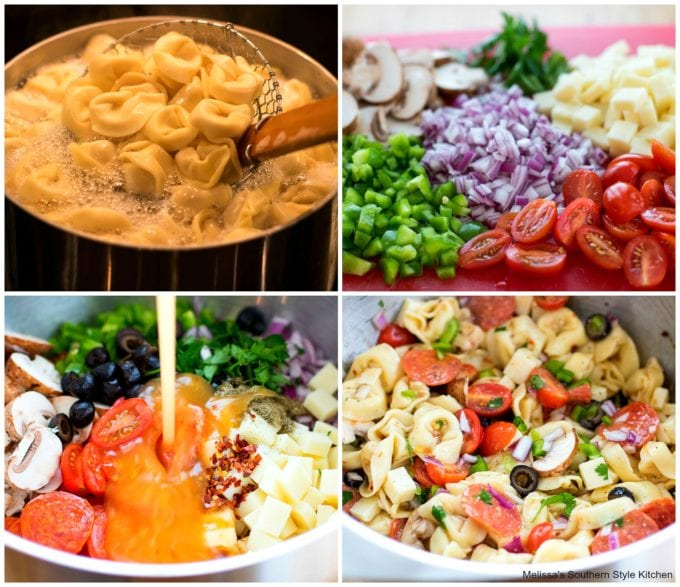 step-by-step images how to prepare tortellini salad