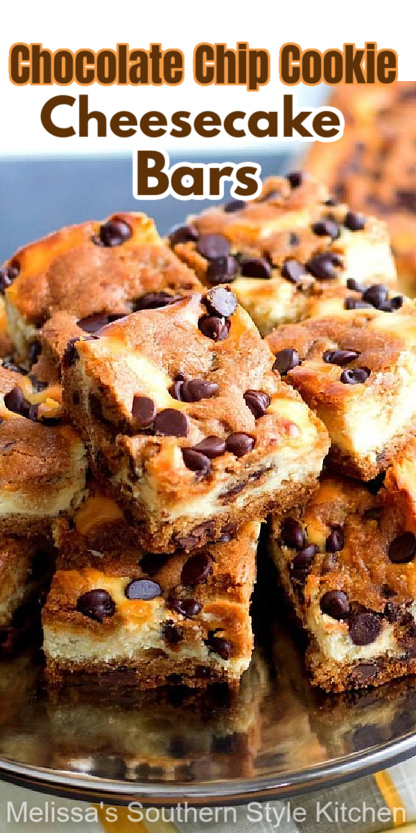 Cheesecake and chocolate chip cookies collide in these easy Chocolate Chip Cookie Cheesecake Bars #chocolatechipcookies #cheesecake #chocolatechipcheesecakebars #cookiebars #cookierecipes #holidaybaking #cheesecakerecipes #southerndesserts