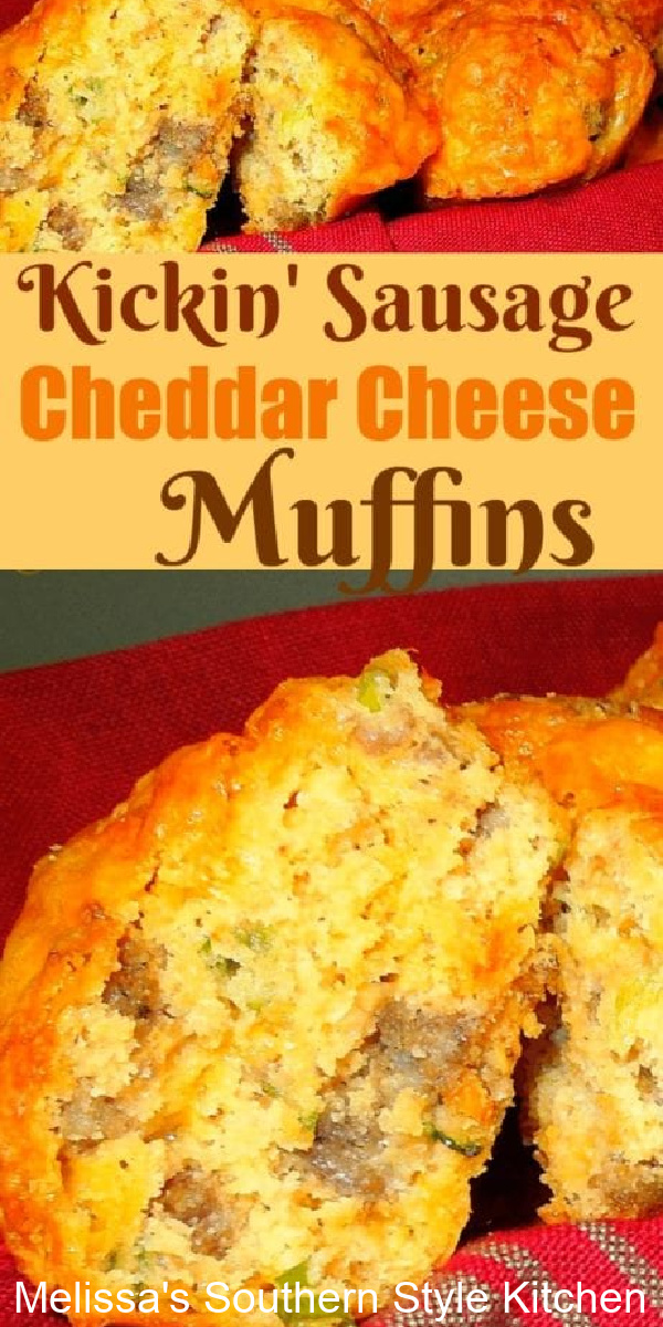 A tasty accompaniment to your morning cuppa joe, theseKickin' Sausage And Cheddar Cheese Muffins are guaranteed to kick start your day #sausagemuffins #cheesemuffins #sausageandscheddarmuffins #brunch #muffinrecipes #breakfast #southernrecipes