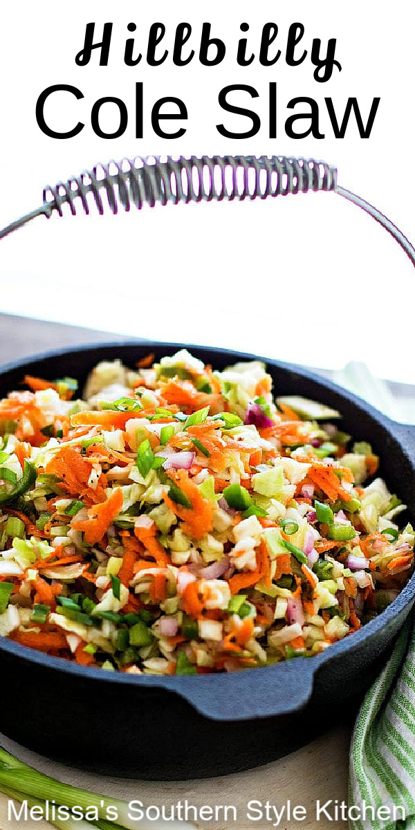The sweet and tangy vinegar based dressing sets this cole slaw recipe apart from it's mayo-dressed counterparts. The fun name is inspired by a log cabin restaurant by the same name #coleslaw #vinegardressing #coleslawrecipes #deliciousrecipes #salads #summersides #sidedishrecipes #southernfood #southernrecipes #cabbagerecipes