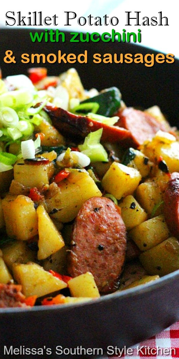 This skillet potato hash is filled with fresh zucchini and kielbasa making it a meal you can enjoy any time of day #potatohash #skilletmeals #zucchinirecipes #kielbasa #smokedsausage #food #dinnerideas #dinner #castironcooking #southernfood #southernrecipes #brunch #breakfast #potatoes