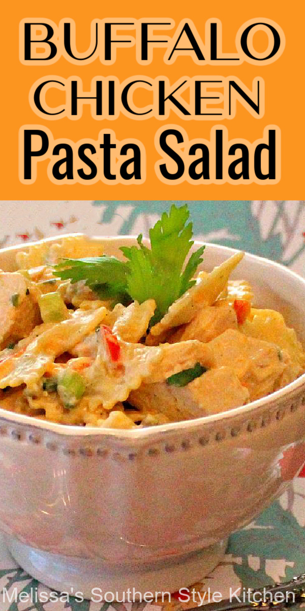 This mouthwatering bow tie Buffalo Chicken Pasta Salad features the same flavors we love in classic buffalo chicken wings #buffalochicken #buffalochickensalad #bowtiesalad #pastasaladrecipes #easychickenrecipes #wings #chickenpastasalad