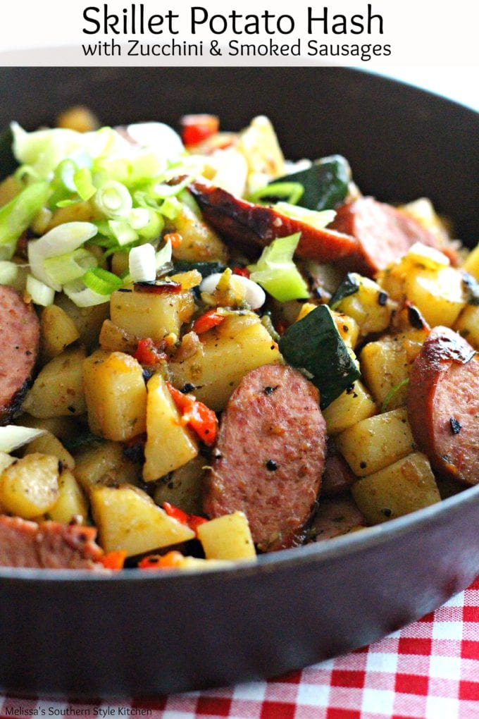 Potatoes and sausages in a skillet