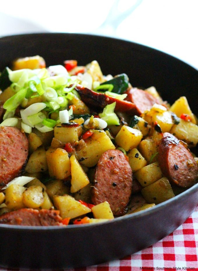 Skillet Potato Hash with Zucchini and Smoked Sausages