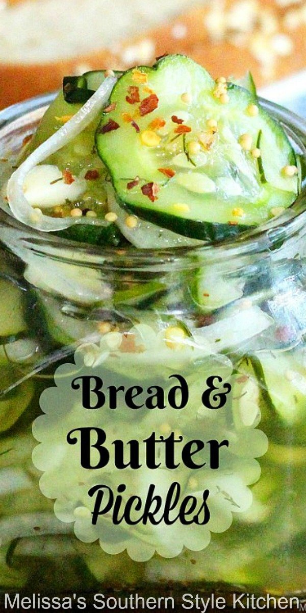 Make sweet and tangy homemade Bread and Butter Refrigerator Pickles for burgers, sandwiches, salads and snacking #refrigeratorpickles #breadandbutterpickles #pickles #picklerecipes #sidedishrecipes #southernfood #southernrecipes #sweetpickles #cucumberrecipes #cucumbers