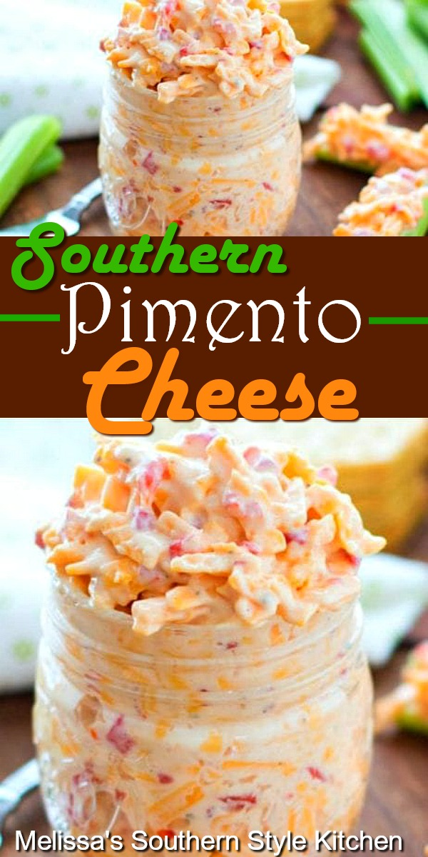 Whip-up a batch of Southern Pimento Cheese for light meals and snacking #pimentocheese #cheese #pimentos #cheesy #appetizer #snacks #pimientocheese #southernpimentocheese #southernfood #southernrecipes #cheese #cheddarcheese #vegetarian