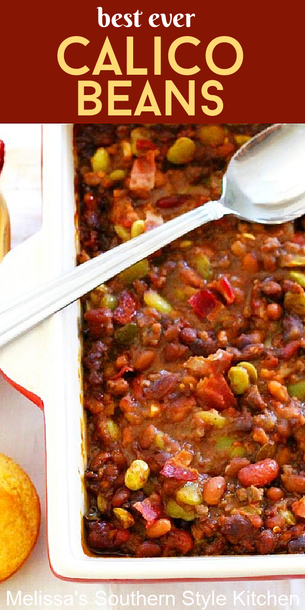 These Calico Beans are perfectly seasoned flavored with both ground beef and smoky bacon all smothered in a sweet and tangy sauce #calicobeans #bakedbeans #porkandbeans #sidedishes #easygroundbeefrecipes #beef #bacon