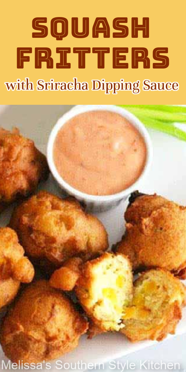 Serve these hushpuppy-like crispy Squash Fritters with a spicy sriracha sauce for dipping #squashfritters #squash #fritters #summerrecipes #hushpuppies #srirachasauce #yellowsquash #sidedishrecipes #appetizers #southernrecipes #southernfood