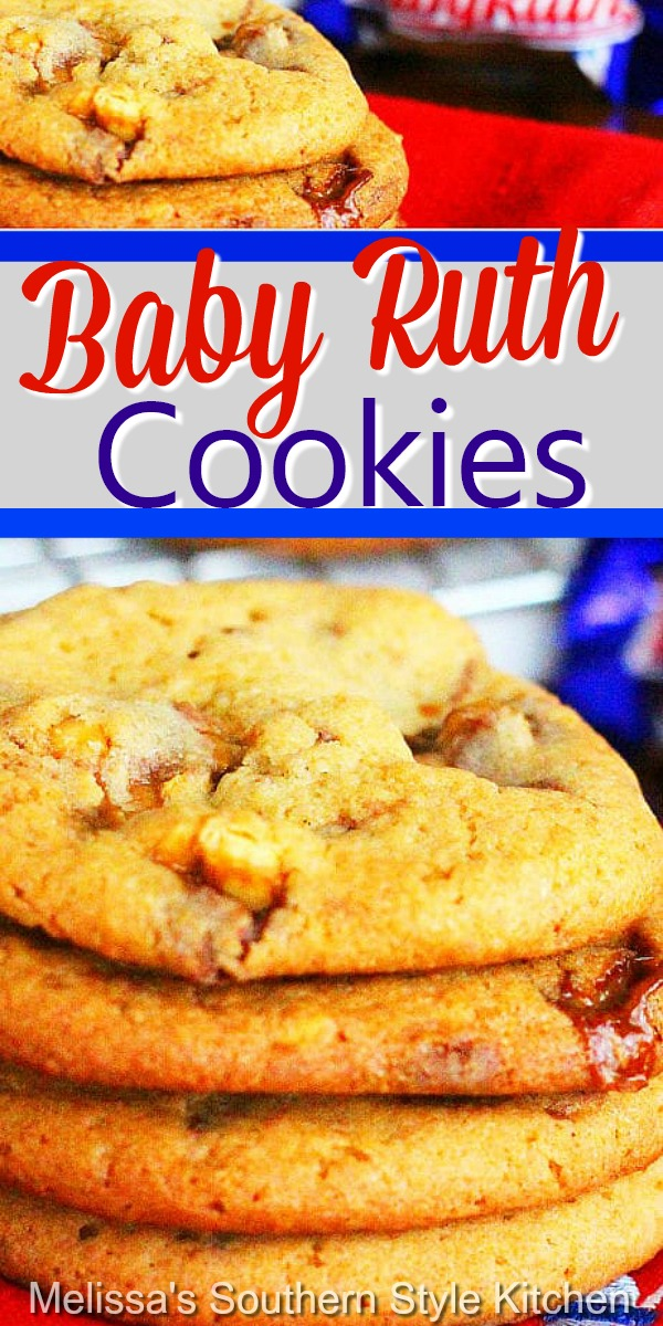 Buttery candy bar Baby Ruth Cookies #babyruthcookies #babyruthcandy #candybarcookies #peanutbuttercookies #peanutbutter #peanuts #cookierecipes #holidaybaking #desserts #dessertfoodrecipes #southernfood #southernrecipes