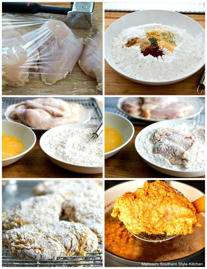 ingredients to make crispy chicken and step-by-step images