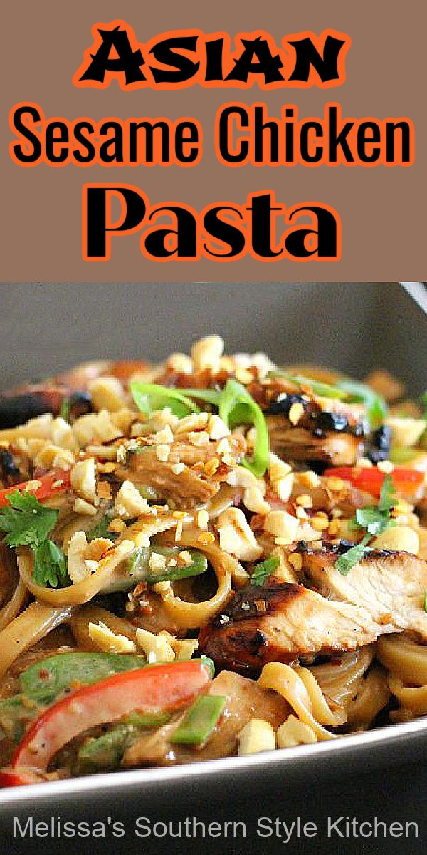 This Asian Sesame Chicken Pasta is delicious warm, at room temperature or chilled #asianchicken #sesamechicken #easychickenrecipes #sesamepasta #pastarecipes #dinner #dinnerideas #southernfood #southernrecipes #pasta
