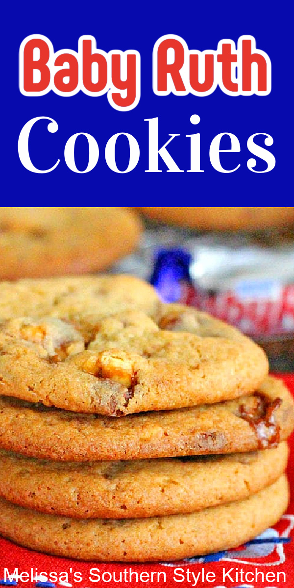 Buttery candy bar Baby Ruth Cookies never last long in your cookie jar #babyruthcookies #babyruthcandy #candybarcookies #peanutbuttercookies #peanutbutter #peanuts #cookierecipes #holidaybaking #desserts #dessertfoodrecipes #southernfood #southernrecipes