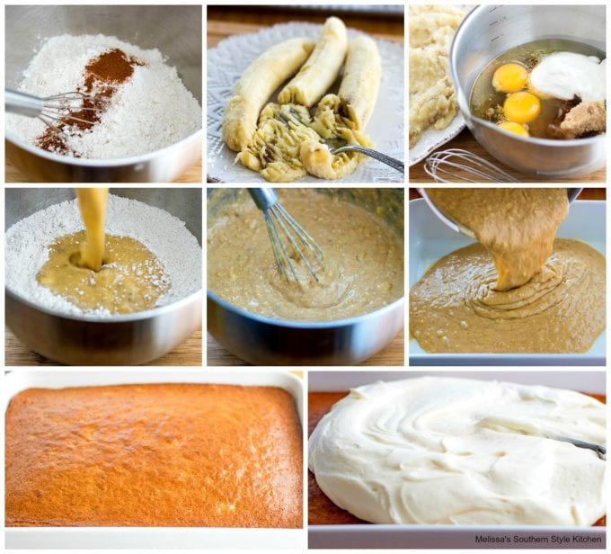 step-by-step images and ingredients to make banana cake
