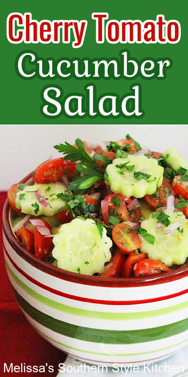 Sweet cherry tomatoes and cucumbers shine in this simple and delicious fresh salad #tomatocucumbersalad #tomatoes #cucumbers #salads #easysaladrecipes #food #sidedishrecipes #southernfood #southernecipes #cherrytomatoes