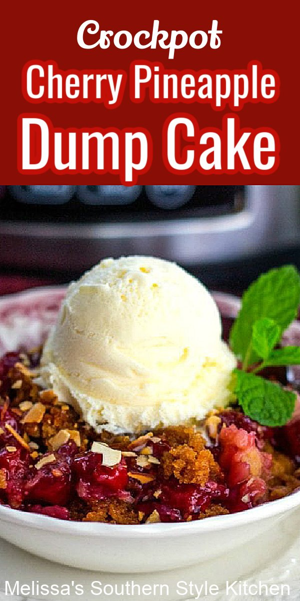 Crockpot Cherry Pineapple Dump Cake can be served straight from the crockpot with a sprinkling of toasted almonds and vanilla ice cream #dumpcakes #dumpcakerecipe #cakes #cakerecipes #easydesserts #crockpotdumpcake #cherrydumpcake #pineappledumpcake #cherrypineappledumpcake #slowcookeddumpcake