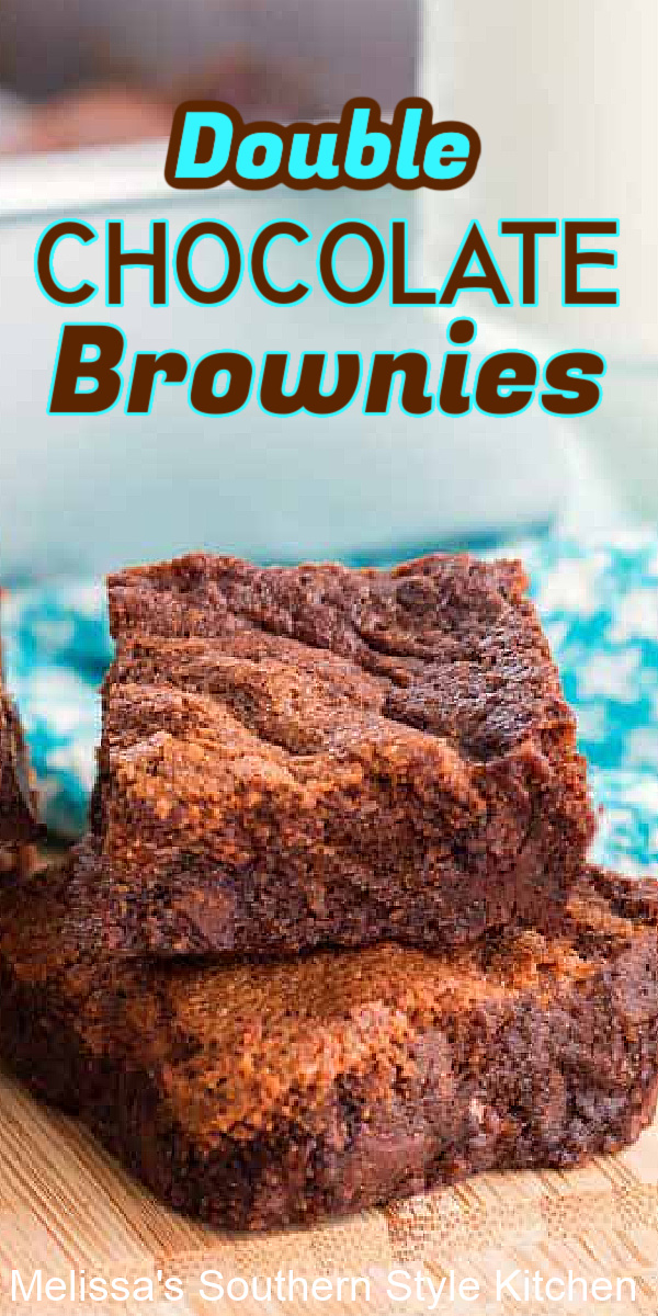 What's better than a chocolate brownie? Double Chocolate Brownies! #brownies #doublechocolatebrownies #browniesrecipes #homemadebrownies #easybrownies #desserts #easyrecipes #chocolate #chocolatedesserts