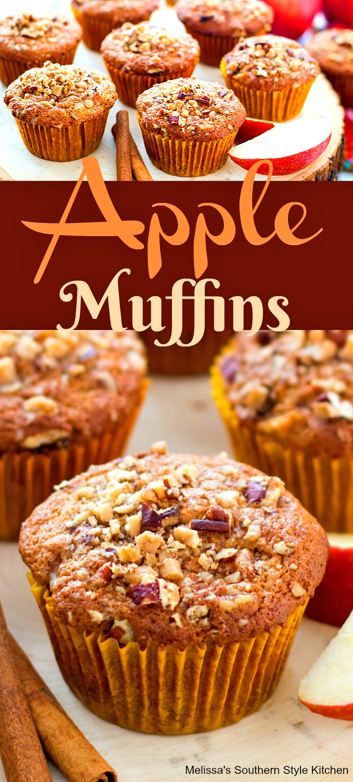 There's nothing like a fresh from the oven Apple Muffin for breakfast, brunch or a mid-afternoon treat! #applemuffins #apples #muffins #streuseltoppedmuffins #pecans #applerecipes #brunch #breakfast #fallbaking #thanksgiving #holidaybrunch #teatime #holidaybaking #southernfood #southernrecipes