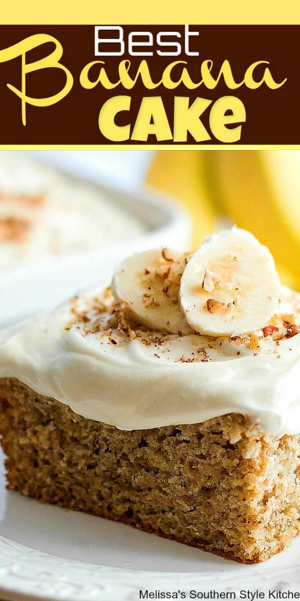 Use over ripe bananas to make this moist and flavorful Banana Cake #bananacake #sheetcakerecipes #bananasheetcake #brunch #breakfast #cakes #desserts #bananas #dessertfoodrecipes #southernfood #southernrecipes #holidaybaking