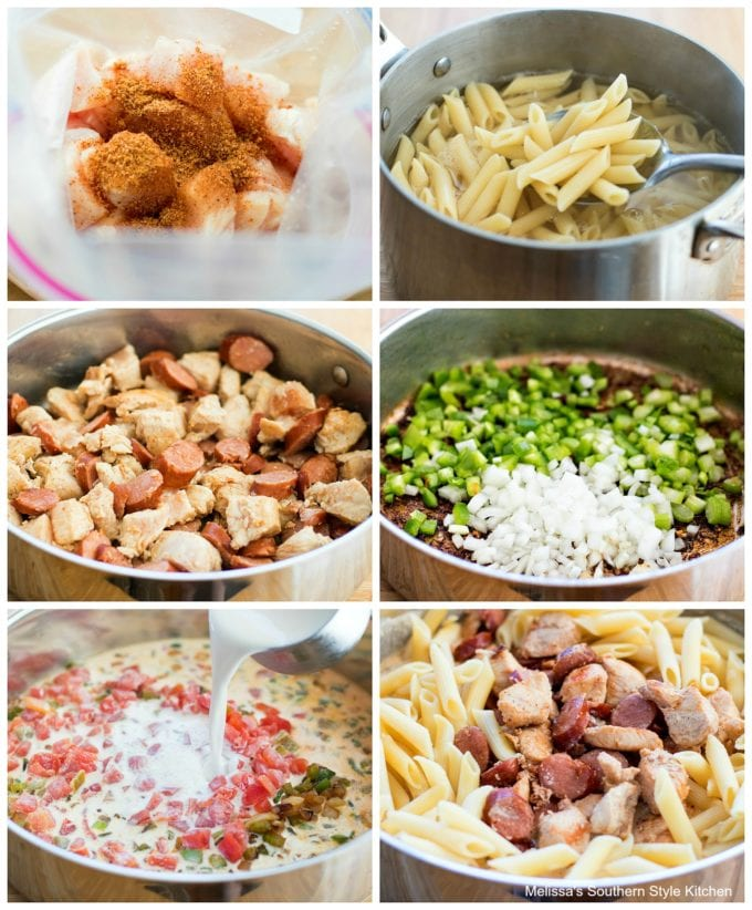 step-by-step images to make pasta with chicken and sausage