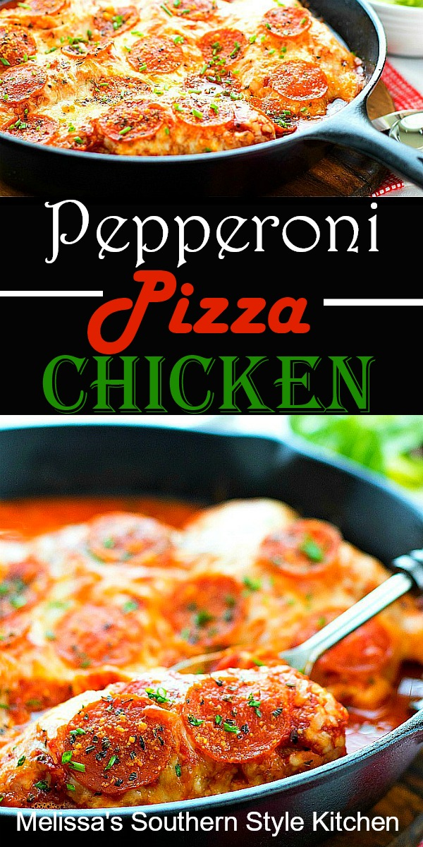 Serve this Pepperoni Pizza Chicken with spaghetti or linguine for your next Italian feast #pepperonipizzachicken #pepperonipizza #easychickenrecipes #Italian #dinnerideas #dinner #pepperoni #southernfood #southernrecipes