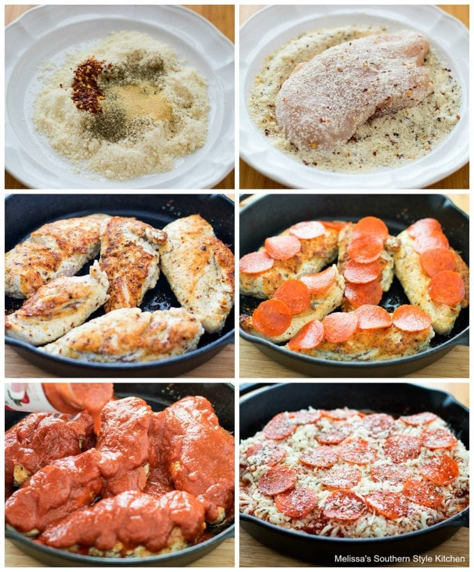 step-by-step image and ingredients to prepare pizza chicken