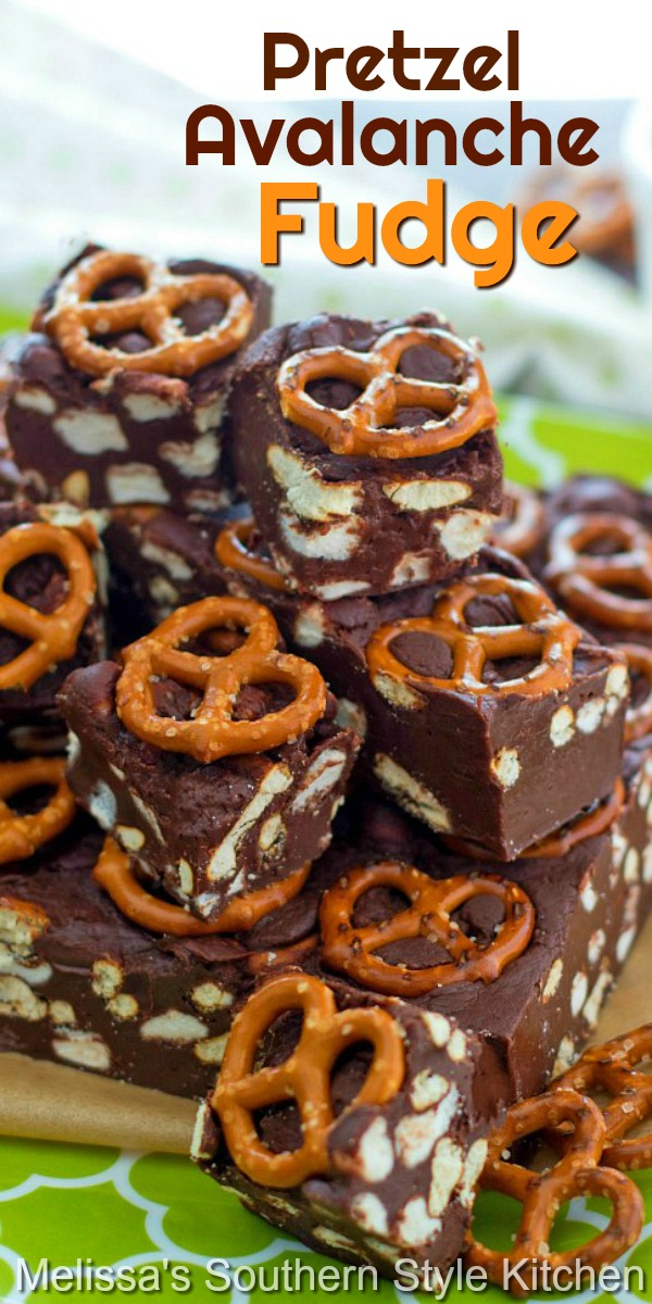 This fudge has that sweet and salty vibe that makes it irresistible #fudge #avalnchefudge #pretzels #pretzelfudge #chocolate #candy #desserts #dessertfood #candy #holidayrecipes #christmascandy #southernfood #southernrecipes