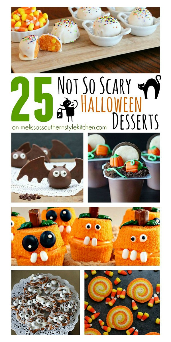 You'll thrill the kiddos with these 25 Not-So-Scary Halloween Desserts #cupcakes #halloween #candy #halloweencandy #pumpkins #scotcheroos #desserts #halloweenparty #dessertfoodrecipes #kidfriendly